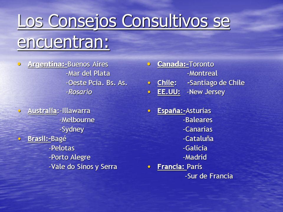 Los Consejos Consultivos se encuentran: Argentina:- Buenos Aires Argentina:- Buenos Aires -Mar del Plata -Mar del Plata -Oeste Pcia. Bs. As. -Oeste Pc