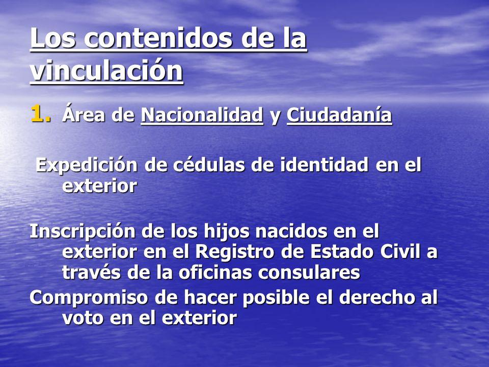 Los contenidos de la vinculación 1. Área de Nacionalidad y Ciudadanía Expedición de cédulas de identidad en el exterior Expedición de cédulas de ident