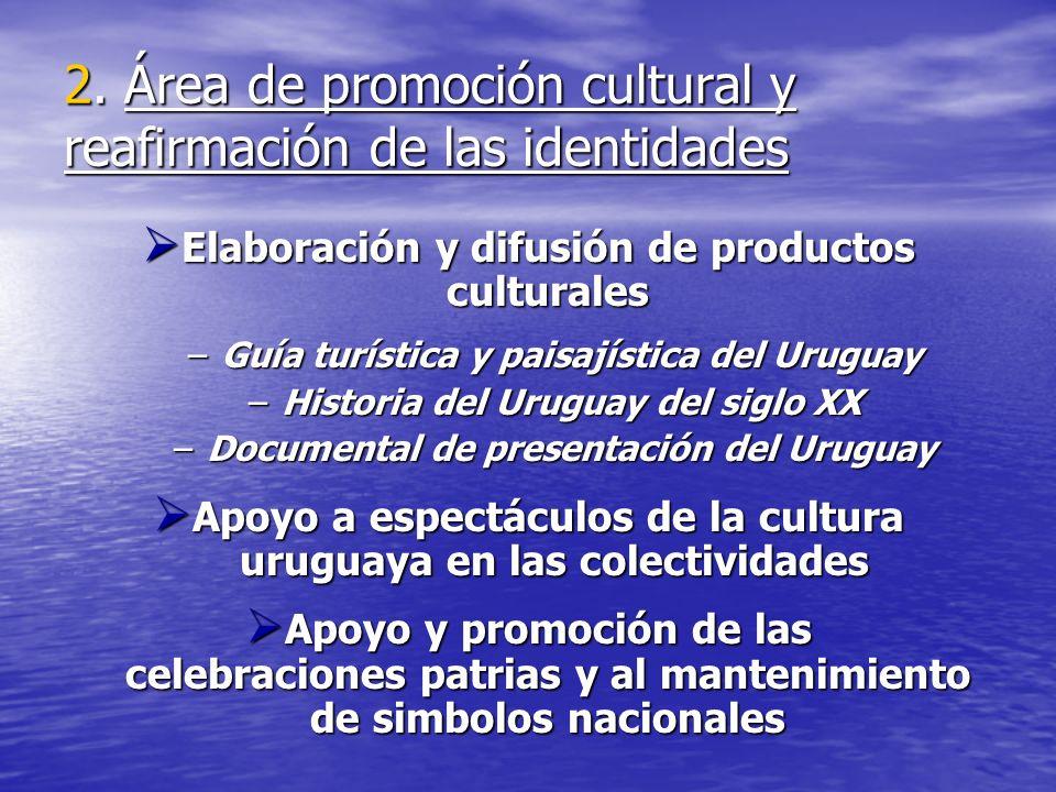 2. Área de promoción cultural y reafirmación de las identidades Elaboración y difusión de productos culturales Elaboración y difusión de productos cul