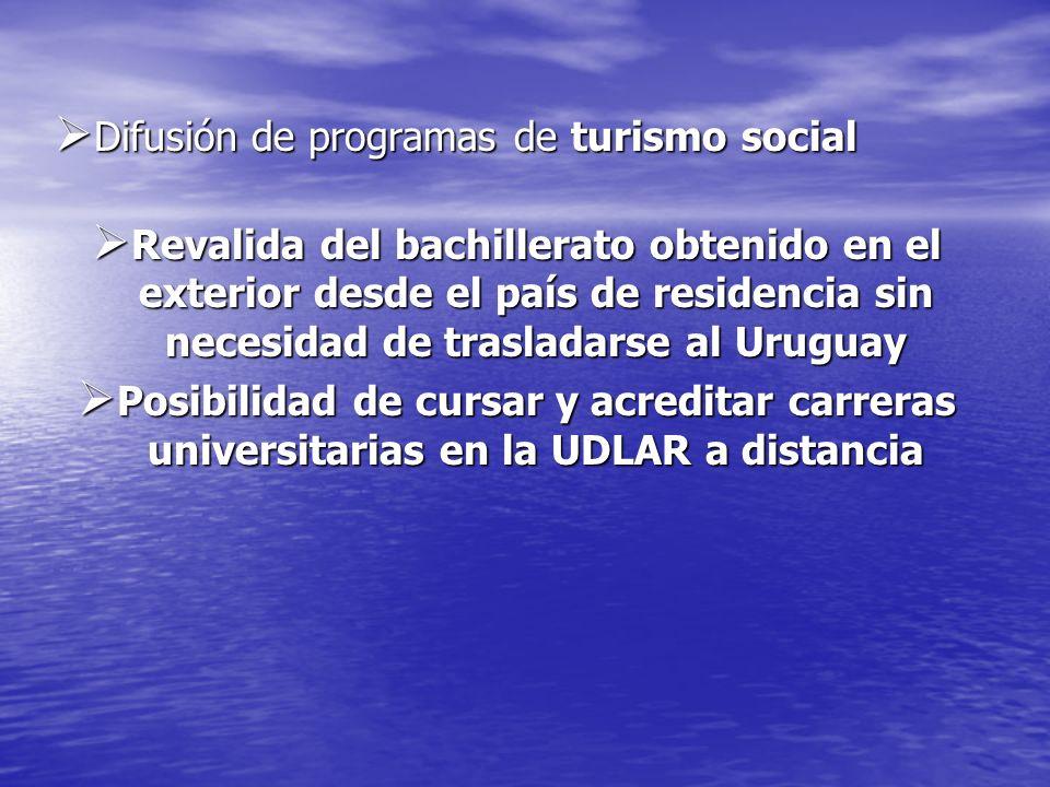 Difusión de programas de turismo social Difusión de programas de turismo social Revalida del bachillerato obtenido en el exterior desde el país de res