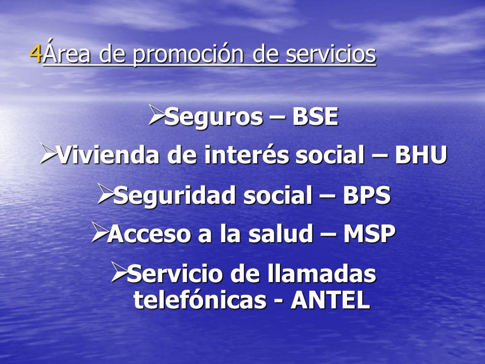4Área de promoción de servicios Seguros – BSE Seguros – BSE Vivienda de interés social – BHU Vivienda de interés social – BHU Seguridad social – BPS S