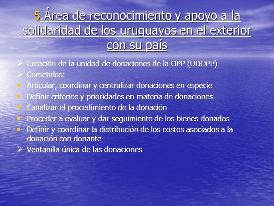5.Área de reconocimiento y apoyo a la solidaridad de los uruguayos en el exterior con su país Creación de la unidad de donaciones de la OPP (UDOPP) Co