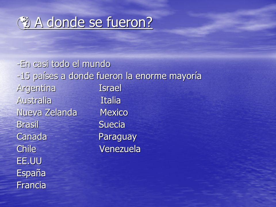¿ A donde se fueron? ¿ A donde se fueron? -En casi todo el mundo -15 países a donde fueron la enorme mayoría Argentina Israel Australia Italia Nueva Z