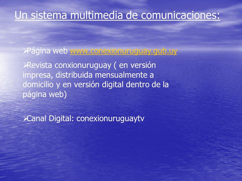 Un sistema multimedia de comunicaciones: Página web www.conexionuruguay.gub.uywww.conexionuruguay.gub.uy Revista conxionuruguay ( en versión impresa,