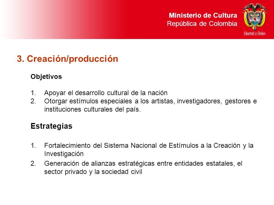 3. Creación/producción Objetivos 1.Apoyar el desarrollo cultural de la nación 2.Otorgar estímulos especiales a los artistas, investigadores, gestores