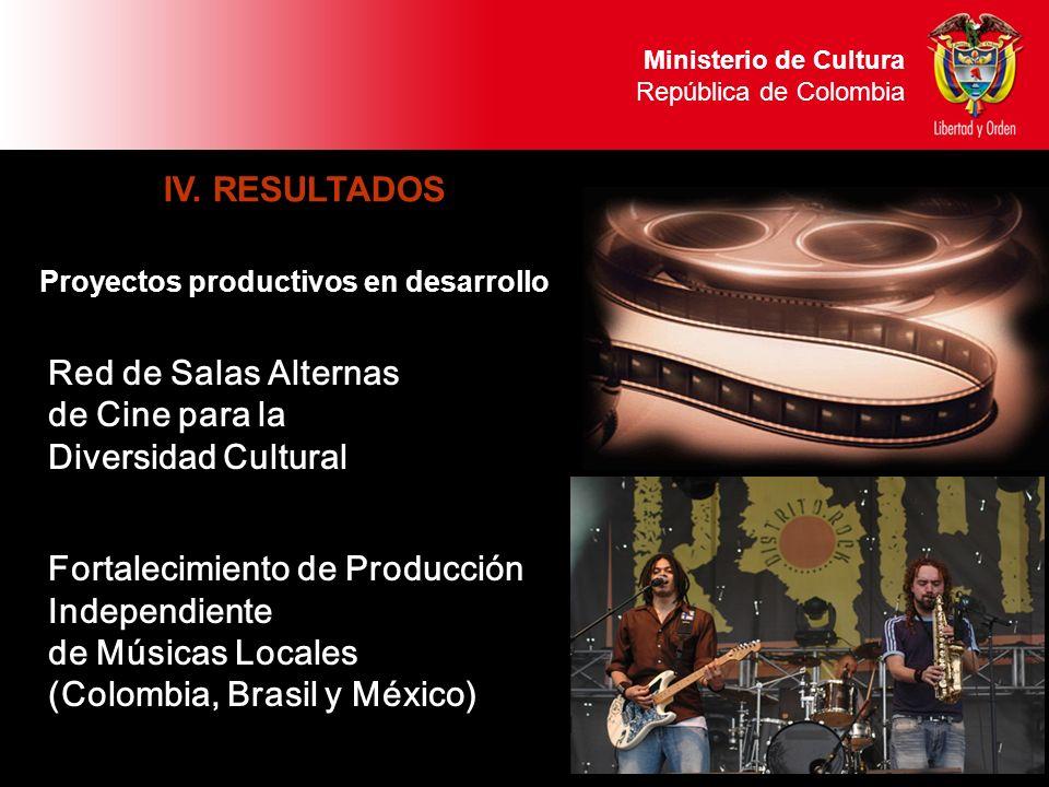 Ministerio de Cultura República de Colombia IV. RESULTADOS Proyectos productivos en desarrollo Ministerio de Cultura República de Colombia Red de Sala