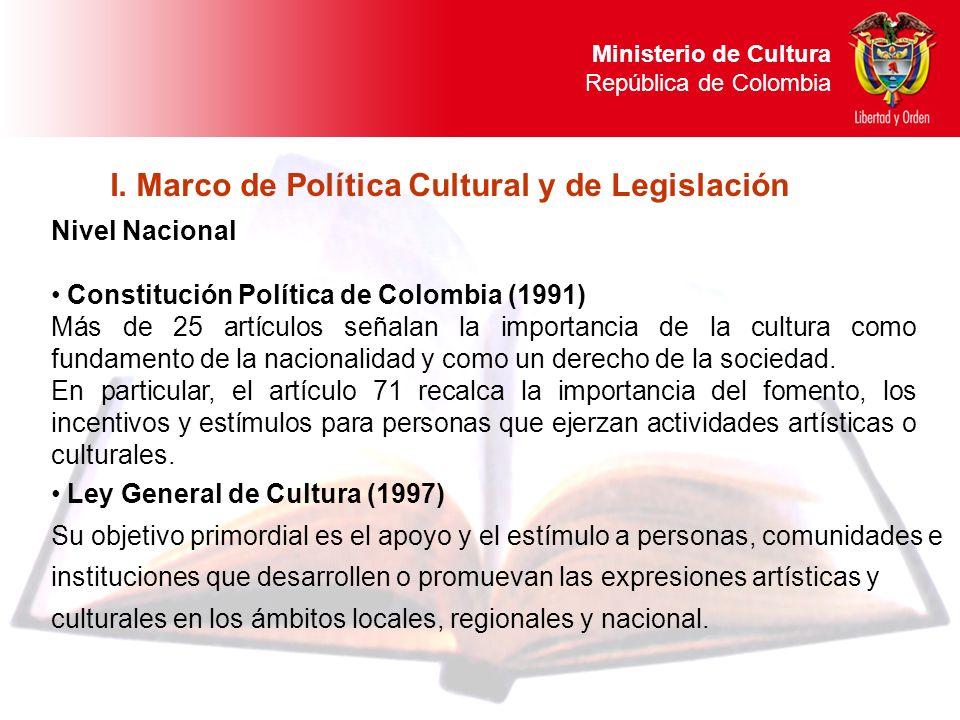 Nivel Nacional Constitución Política de Colombia (1991) Más de 25 artículos señalan la importancia de la cultura como fundamento de la nacionalidad y