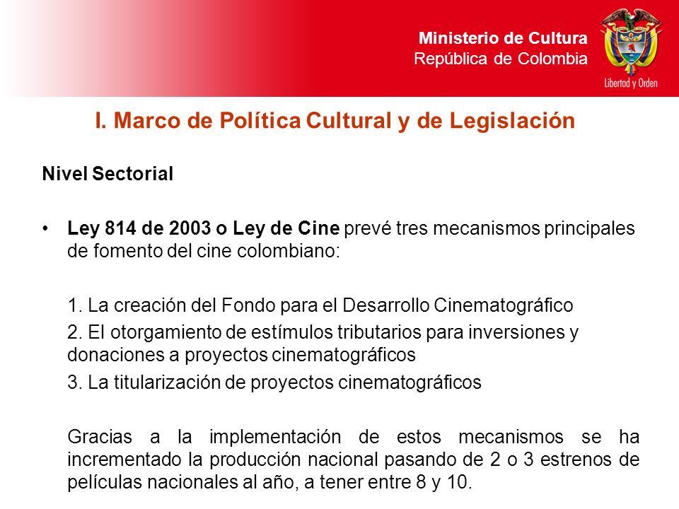 Nivel Sectorial Ley 814 de 2003 o Ley de Cine prevé tres mecanismos principales de fomento del cine colombiano: 1. La creación del Fondo para el Desar