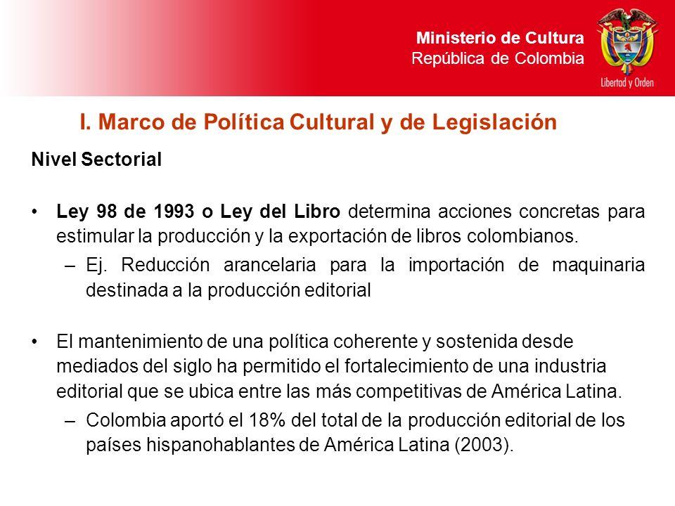 Nivel Sectorial Ley 98 de 1993 o Ley del Libro determina acciones concretas para estimular la producción y la exportación de libros colombianos. –Ej.