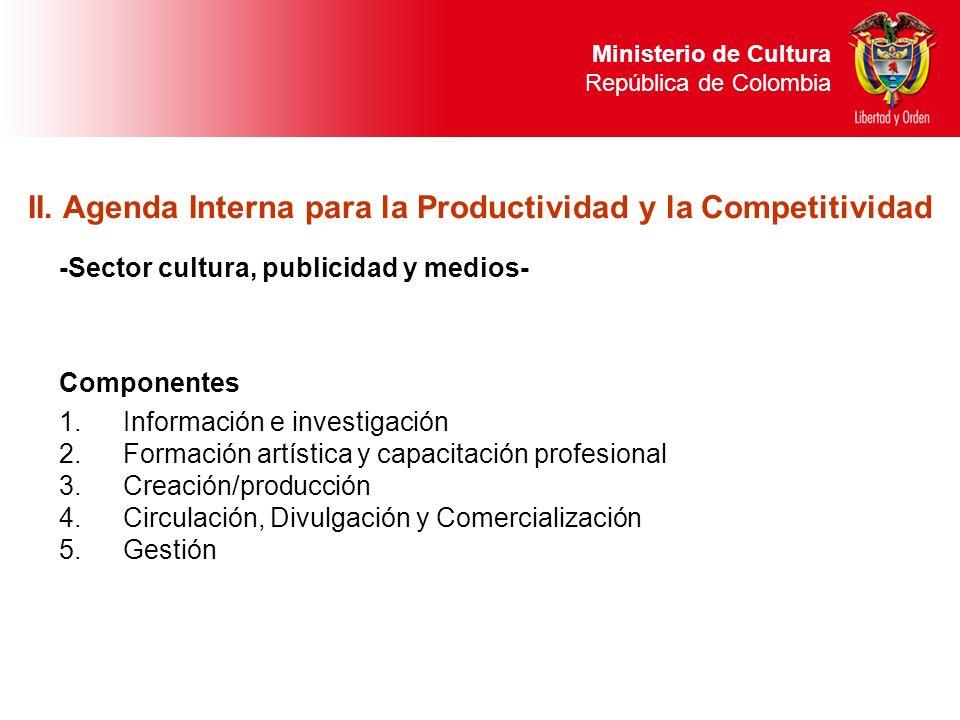 Ministerio de Cultura República de Colombia -Sector cultura, publicidad y medios- Componentes 1.Información e investigación 2.Formación artística y ca