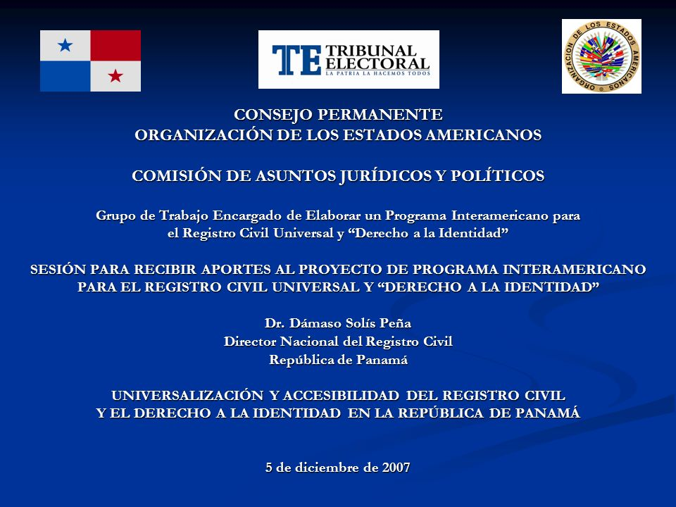 CONSEJO PERMANENTE ORGANIZACIÓN DE LOS ESTADOS AMERICANOS COMISIÓN DE ASUNTOS JURÍDICOS Y POLÍTICOS Grupo de Trabajo Encargado de Elaborar un Programa