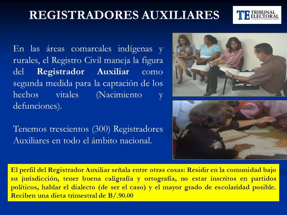 Dirección Nacional del Registro Civil En las áreas comarcales indígenas y rurales, el Registro Civil maneja la figura del Registrador Auxiliar como se