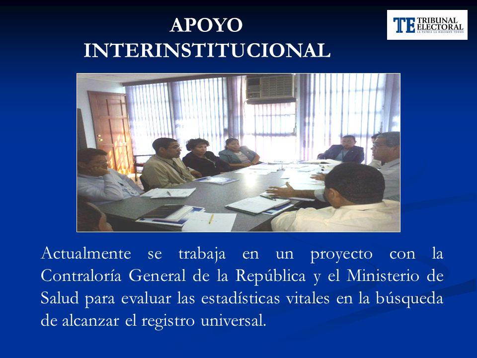 APOYO INTERINSTITUCIONAL Actualmente se trabaja en un proyecto con la Contraloría General de la República y el Ministerio de Salud para evaluar las es