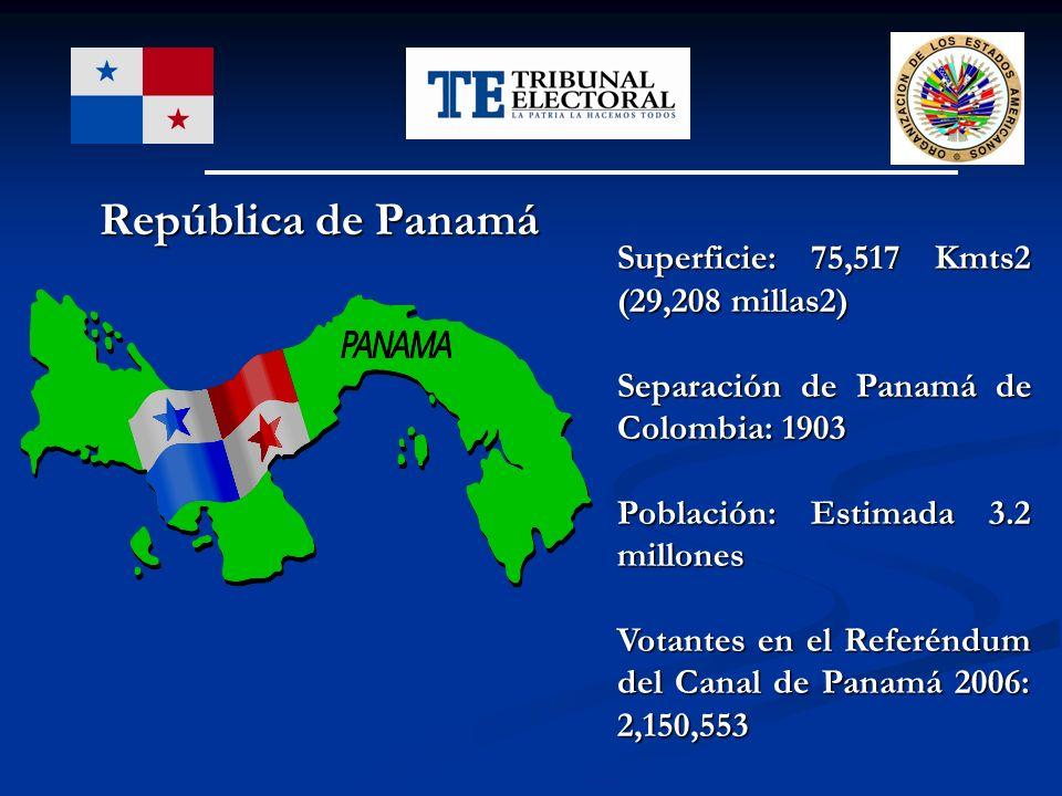 República de Panamá República de Panamá Superficie: 75,517 Kmts2 (29,208 millas2) Separación de Panamá de Colombia: 1903 Población: Estimada 3.2 millo