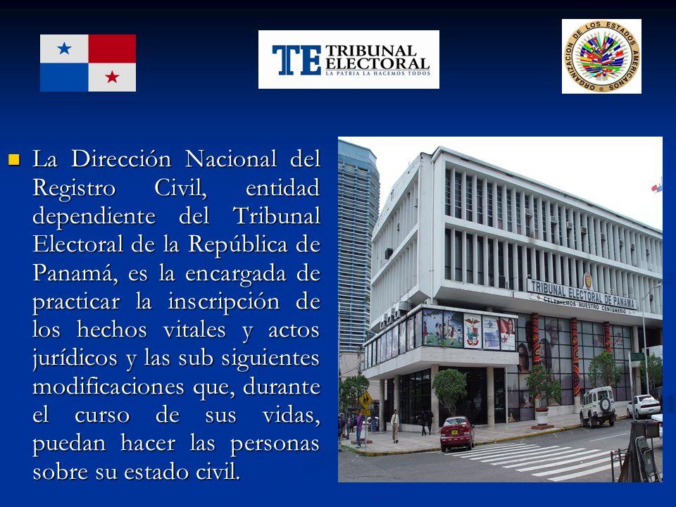 La Dirección Nacional del Registro Civil, entidad dependiente del Tribunal Electoral de la República de Panamá, es la encargada de practicar la inscri