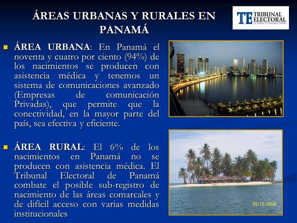 ÁREAS URBANAS Y RURALES EN PANAMÁ ÁREA URBANA: En Panamá el noventa y cuatro por ciento (94%) de los nacimientos se producen con asistencia médica y t