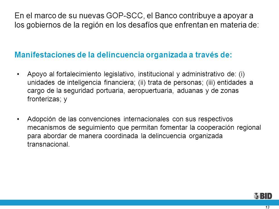 13 Apoyo al fortalecimiento legislativo, institucional y administrativo de: (i) unidades de inteligencia financiera; (ii) trata de personas; (iii) ent