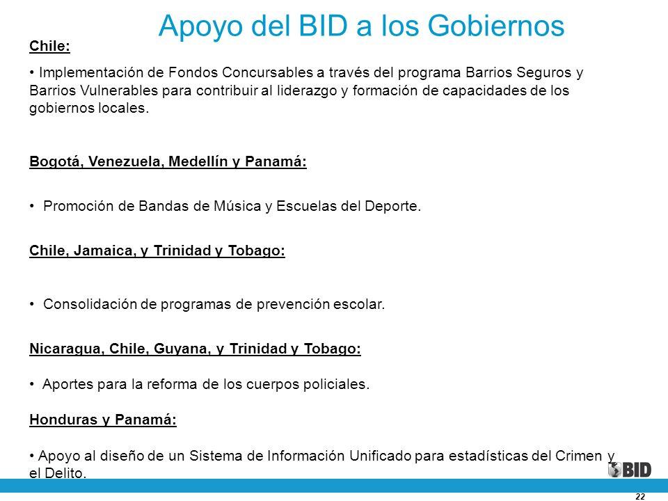 22 Chile: Implementación de Fondos Concursables a través del programa Barrios Seguros y Barrios Vulnerables para contribuir al liderazgo y formación d