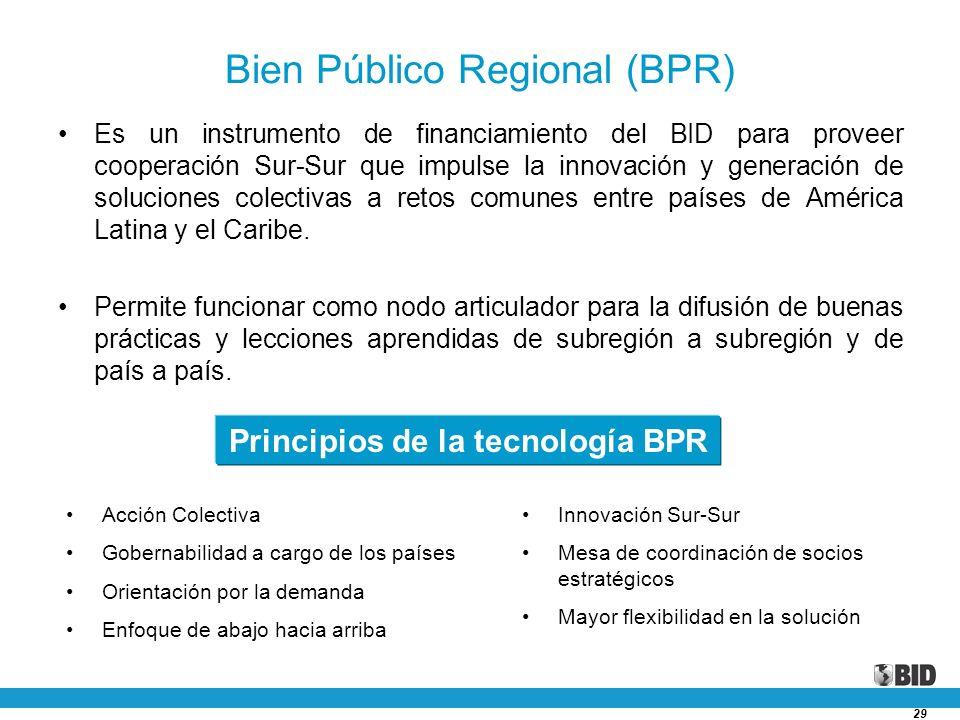 29 Bien Público Regional (BPR) Es un instrumento de financiamiento del BID para proveer cooperación Sur-Sur que impulse la innovación y generación de