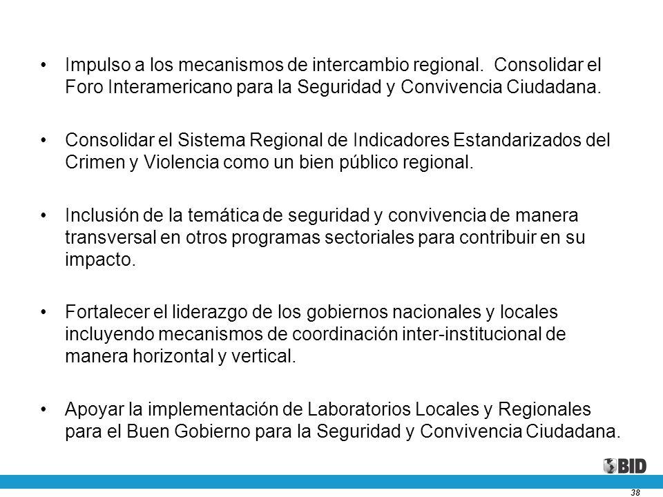 38 Impulso a los mecanismos de intercambio regional. Consolidar el Foro Interamericano para la Seguridad y Convivencia Ciudadana. Consolidar el Sistem