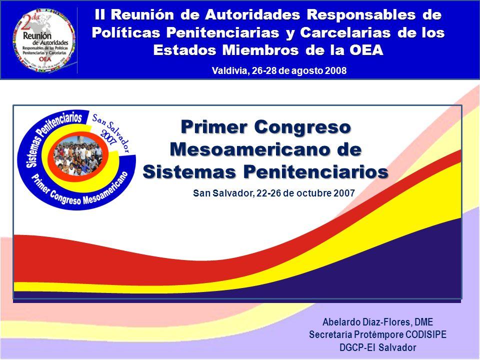 Abelardo Díaz-Flores, DME/ Programa de Prevención de Drogas en Centros Penales/ Dirección General de Centros Penales Ponencias 7.Prevención comunitaria de la violencia juvenil y pandilleril Jessica Espinoza Miranda, Programa Projóvenes/Unión Europea 8.Tratamiento Progresivo Lic.