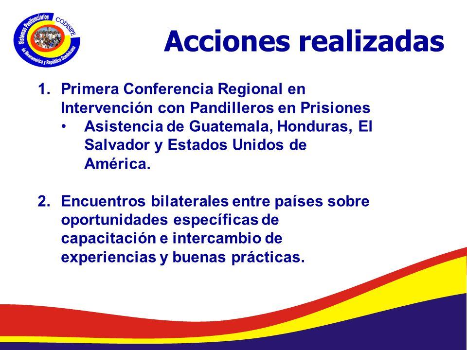 Abelardo Díaz-Flores, DME/ Programa de Prevención de Drogas en Centros Penales/ Dirección General de Centros Penales Acciones realizadas 1.Primera Conferencia Regional en Intervención con Pandilleros en Prisiones Asistencia de Guatemala, Honduras, El Salvador y Estados Unidos de América.