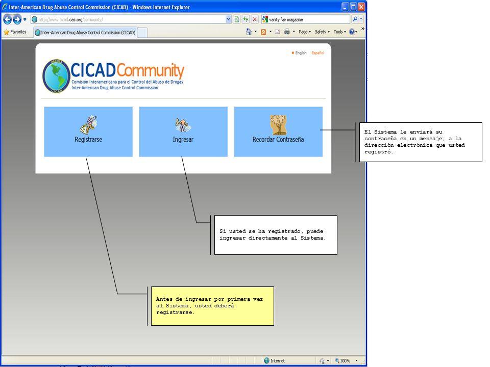 Comunidad Virtual del Plan de Acción para la implementación de la Estrategia Hemisférica sobre drogas http://www.cicad.oas.org/community