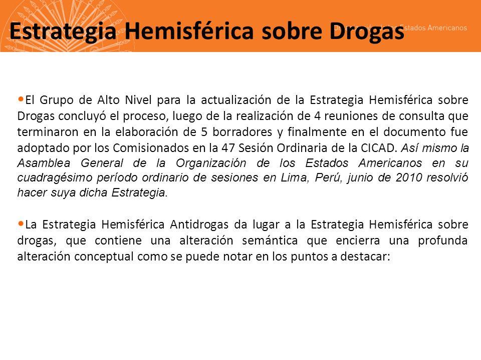 Plan de Acción Hemisférico sobre Drogas CICAD/OEA Octubre, 2010