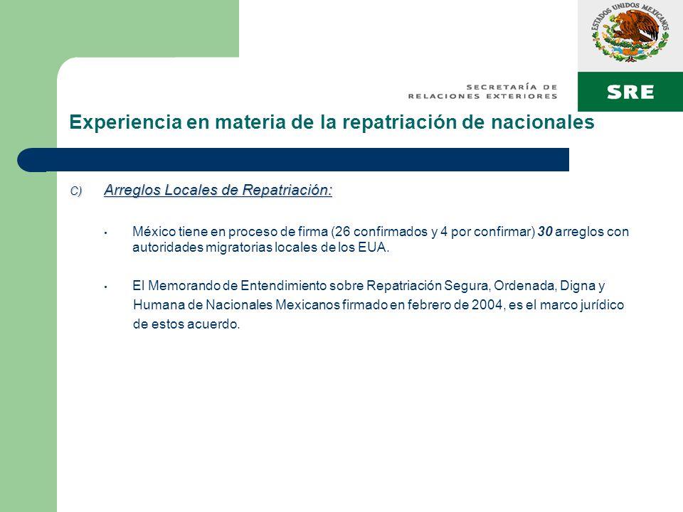 Experiencia en materia de la repatriación de nacionales C) Arreglos Locales de Repatriación: México tiene en proceso de firma (26 confirmados y 4 por