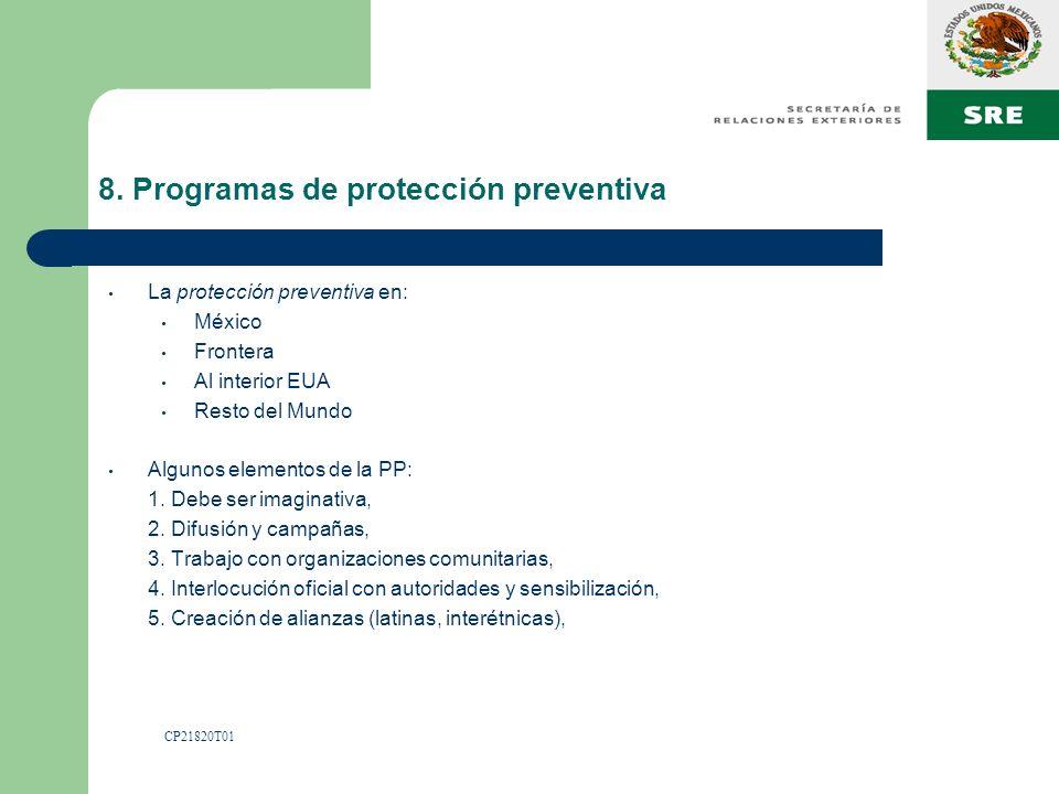 8. Programas de protección preventiva La protección preventiva en: México Frontera Al interior EUA Resto del Mundo Algunos elementos de la PP: 1. Debe