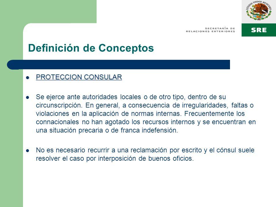 Definición de Conceptos PROTECCION CONSULAR PROTECCION CONSULAR Se ejerce ante autoridades locales o de otro tipo, dentro de su circunscripción. En ge