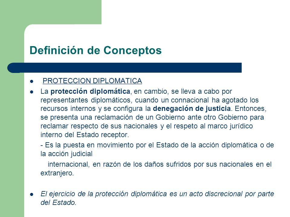 Definición de Conceptos PROTECCION DIPLOMATICA La protección diplomática, en cambio, se lleva a cabo por representantes diplomáticos, cuando un connac