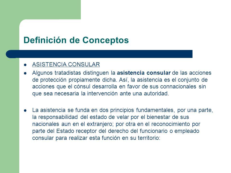 Definición de Conceptos ASISTENCIA CONSULAR Algunos tratadistas distinguen la asistencia consular de las acciones de protección propiamente dicha. Así