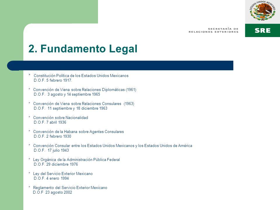 2. Fundamento Legal * Constitución Política de los Estados Unidos Mexicanos D.O.F. 5 febrero 1917. * Convención de Viena sobre Relaciones Diplomáticas