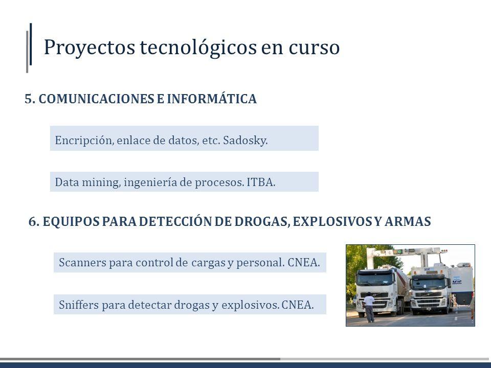 Scanners para control de cargas y personal. CNEA. 6. EQUIPOS PARA DETECCIÓN DE DROGAS, EXPLOSIVOS Y ARMAS Sniffers para detectar drogas y explosivos.