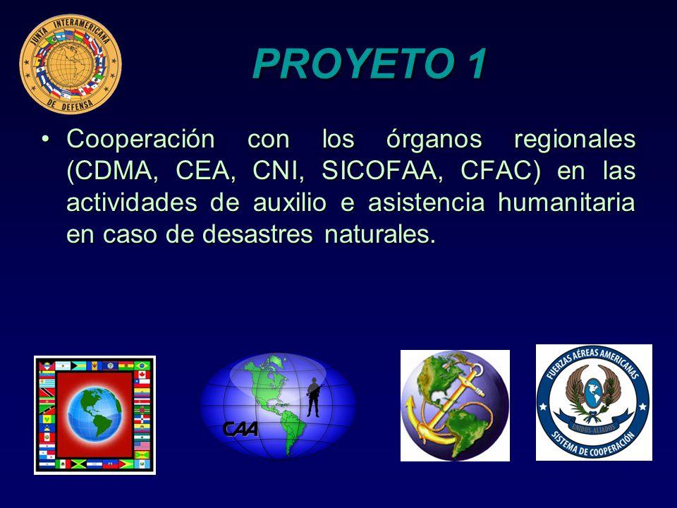 PROYETO 1 Cooperación con los órganos regionales (CDMA, CEA, CNI, SICOFAA, CFAC) en las actividades de auxilio e asistencia humanitaria en caso de des