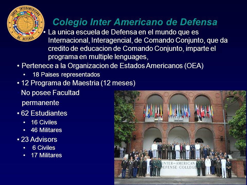 Colegio Inter Americano de Defensa La unica escuela de Defensa en el mundo que es Internacional, Interagencial, de Comando Conjunto, que da credito de