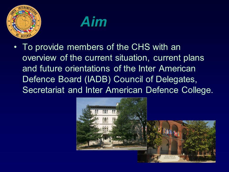 Los contenidos Introducción (Presidente) El plan de trabajo de la Secretaria (Director General) Colegio Interamericano de Defensa (Vice Director y Jefe de Estudios) Conclusiones