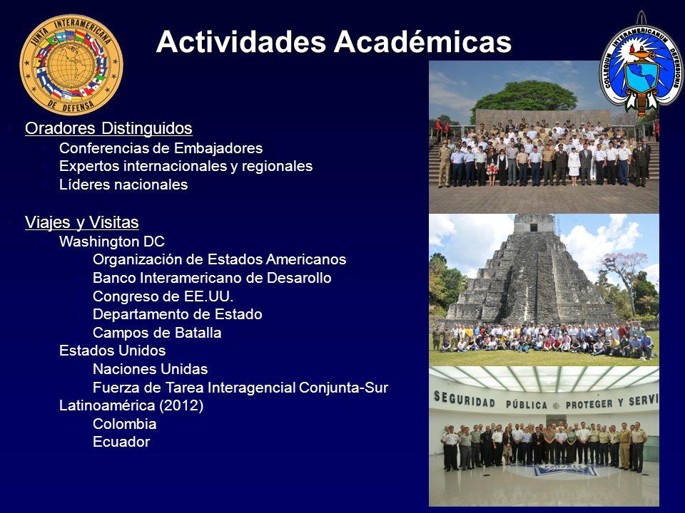 Actividades Académicas Oradores DistinguidosOradores Distinguidos Conferencias de Embajadores Expertos internacionales y regionales Líderes nacionales