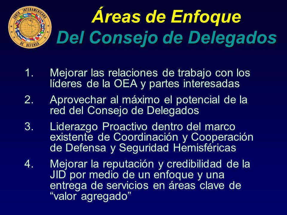 Áreas de Enfoque Del Consejo de Delegados 1.Mejorar las relaciones de trabajo con los líderes de la OEA y partes interesadas 2.Aprovechar al máximo el