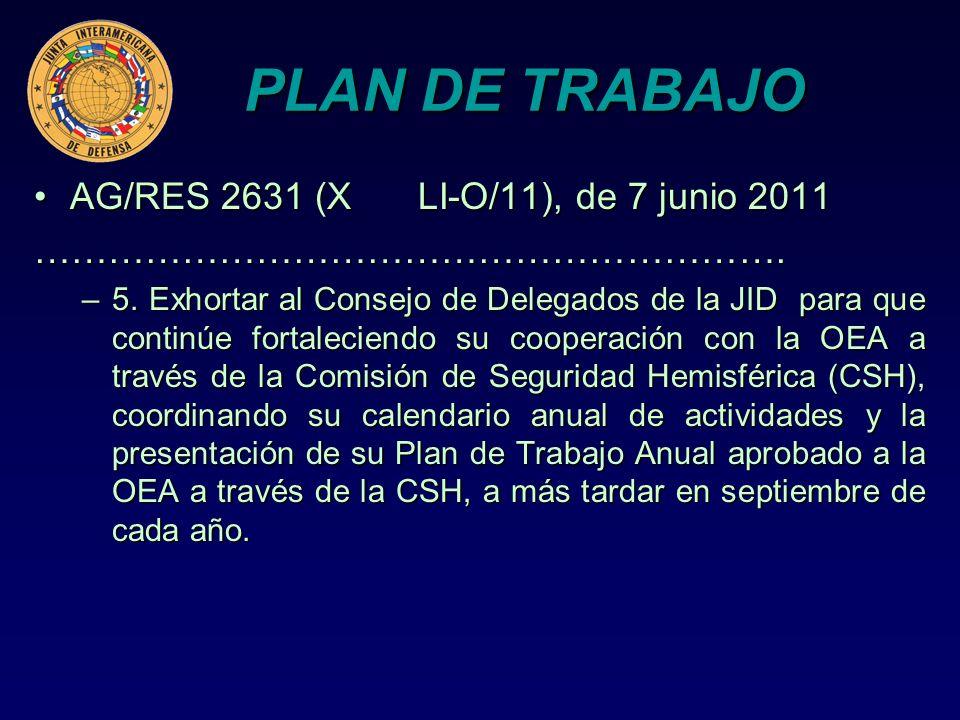 PLAN DE TRABAJO AG/RES 2631 (XLI-O/11), de 7 junio 2011AG/RES 2631 (XLI-O/11), de 7 junio 2011……………………………………………………. –5. Exhortar al Consejo de Delegad