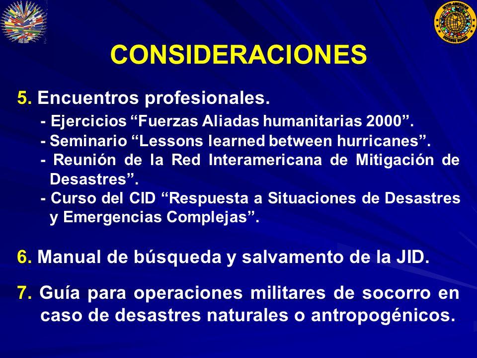 CONSIDERACIONES 5. Encuentros profesionales. - Ejercicios Fuerzas Aliadas humanitarias 2000.