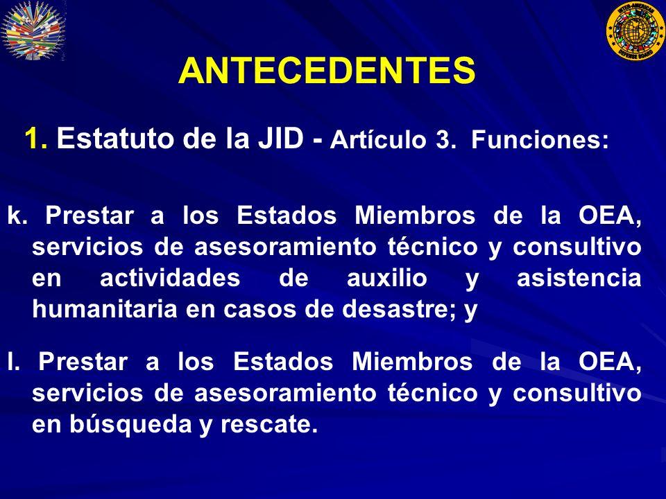 ANTECEDENTES 1. Estatuto de la JID - Artículo 3. Funciones: k.