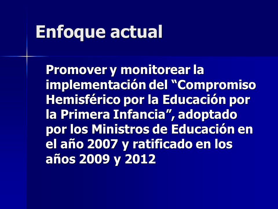 Enfoque actual Promover y monitorear la implementación del Compromiso Hemisférico por la Educación por la Primera Infancia, adoptado por los Ministros de Educación en el año 2007 y ratificado en los años 2009 y 2012