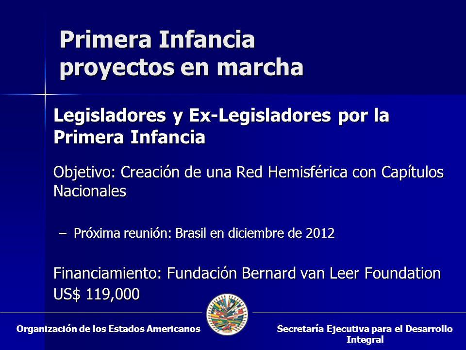 Primera Infancia proyectos en marcha Legisladores y Ex-Legisladores por la Primera Infancia Objetivo: Creación de una Red Hemisférica con Capítulos Na