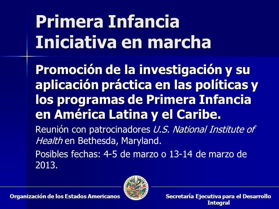 Primera Infancia Iniciativa en marcha Promoción de la investigación y su aplicación práctica en las políticas y los programas de Primera Infancia en A