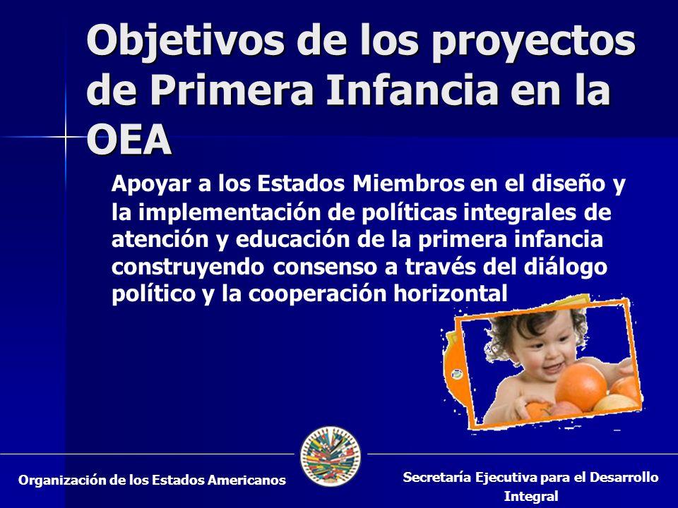 Objetivos de los proyectos de Primera Infancia en la OEA Apoyar a los Estados Miembros en el diseño y la implementación de políticas integrales de atención y educación de la primera infancia construyendo consenso a través del diálogo político y la cooperación horizontal Organización de los Estados Americanos Secretaría Ejecutiva para el Desarrollo Integral