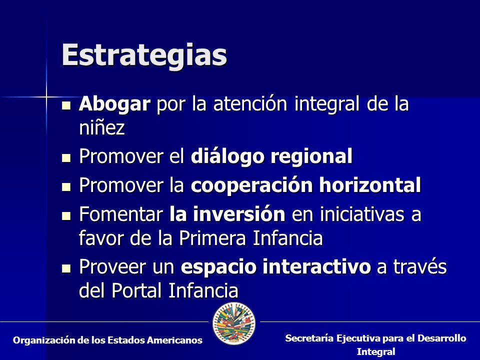 Estrategias Abogar por la atención integral de la niñez Abogar por la atención integral de la niñez Promover el diálogo regional Promover el diálogo r