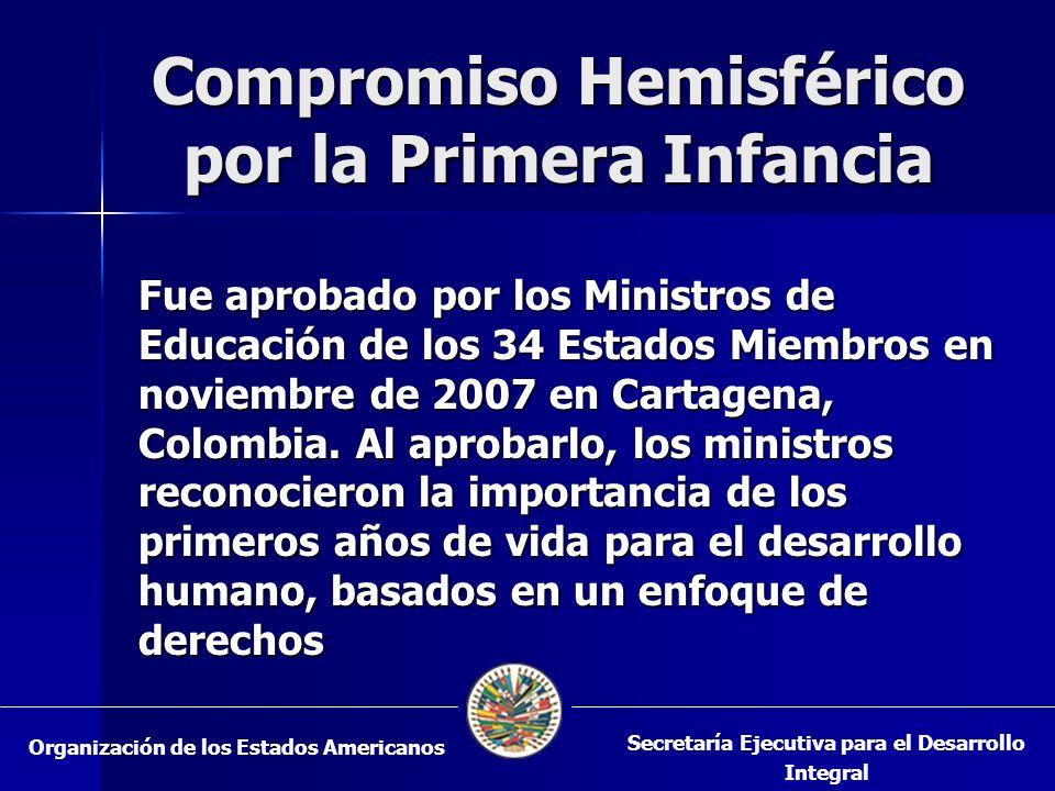 Compromiso Hemisférico por la Primera Infancia Fue aprobado por los Ministros de Educación de los 34 Estados Miembros en noviembre de 2007 en Cartagen