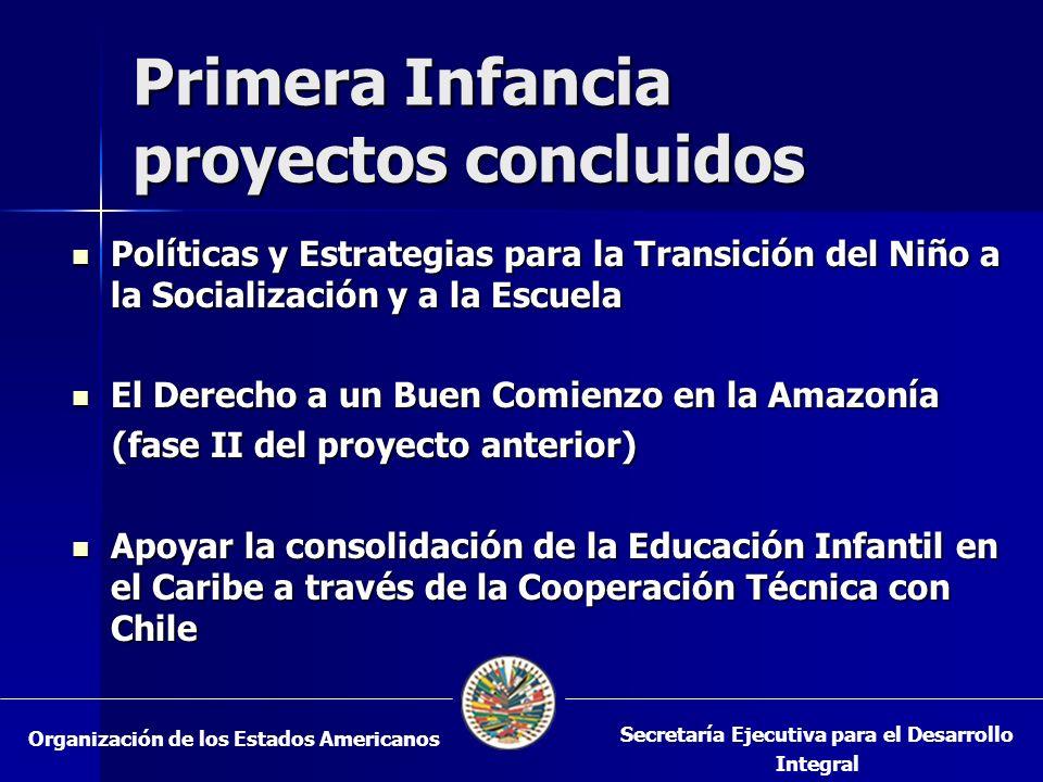 Primera Infancia proyectos concluidos Políticas y Estrategias para la Transición del Niño a la Socialización y a la Escuela Políticas y Estrategias para la Transición del Niño a la Socialización y a la Escuela El Derecho a un Buen Comienzo en la Amazonía El Derecho a un Buen Comienzo en la Amazonía (fase II del proyecto anterior) (fase II del proyecto anterior) Apoyar la consolidación de la Educación Infantil en el Caribe a través de la Cooperación Técnica con Chile Apoyar la consolidación de la Educación Infantil en el Caribe a través de la Cooperación Técnica con Chile Organización de los Estados Americanos Secretaría Ejecutiva para el Desarrollo Integral